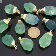 Natural-Green-Fluorite-Gemstone-Oval-Octagonal-Pendant-Charm-Beads-Necklace-Gold-261880887542-2