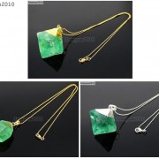 Natural-Green-Fluorite-Gemstone-Oval-Octagonal-Pendant-Charm-Beads-Necklace-Gold-261880887542-5