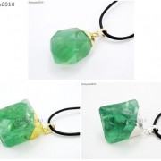 Natural-Green-Fluorite-Gemstone-Oval-Octagonal-Pendant-Charm-Beads-Necklace-Gold-261880887542-6