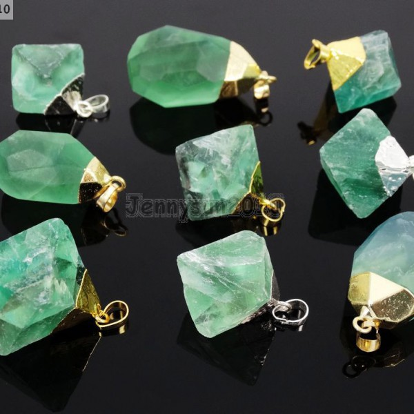 Natural-Green-Fluorite-Gemstone-Oval-Octagonal-Pendant-Charm-Beads-Necklace-Gold-261880887542