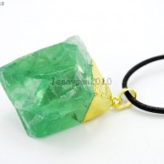 Natural-Green-Fluorite-Gemstone-Oval-Octagonal-Pendant-Charm-Beads-Necklace-Gold-261880887542-9966