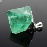 Natural-Green-Fluorite-Gemstone-Oval-Octagonal-Pendant-Charm-Beads-Necklace-Gold-261880887542-9f8b