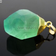Natural-Green-Fluorite-Gemstone-Oval-Octagonal-Pendant-Charm-Beads-Necklace-Gold-261880887542-a83d