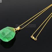 Natural-Green-Fluorite-Gemstone-Oval-Octagonal-Pendant-Charm-Beads-Necklace-Gold-261880887542-c3da