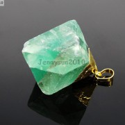 Natural-Green-Fluorite-Gemstone-Oval-Octagonal-Pendant-Charm-Beads-Necklace-Gold-261880887542-d1f3