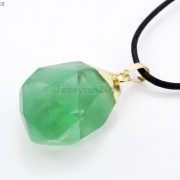 Natural-Green-Fluorite-Gemstone-Oval-Octagonal-Pendant-Charm-Beads-Necklace-Gold-261880887542-df2c