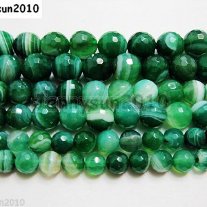 Natural-Green-Stripe-Agate-Gemstone-Faceted-Round-Beads-155-8mm-10mm-12mm-251111414525