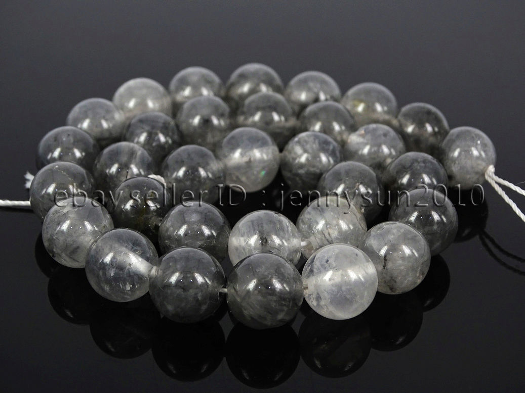 SHENGSHIHUIZHONG Wholesale Natural Round Gray Grey Cloudy Quartz Stone Strand Beads 4 6 8 10 12MM for Beading Bracelet Necklace Jewelry Making Size : 8mm Approx 48 pcs