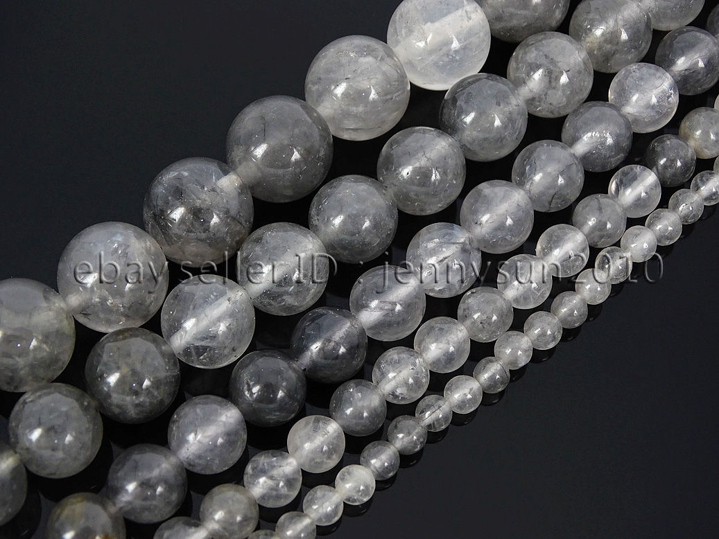 Size : 4mm Approx 95 pcs SHENGSHIHUIZHONG Wholesale Natural Round Gray Grey Cloudy Quartz Stone Strand Beads 4 6 8 10 12MM for Beading Bracelet Necklace Jewelry Making