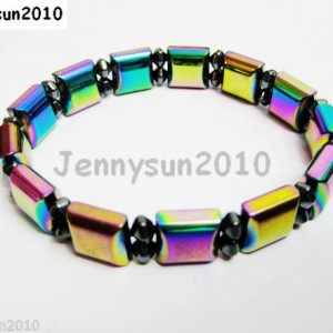 Natural-Hematite-Gemstone-Multi-Colored-Beaded-Strechy-Bracelet-11mm-Wide-261056579569