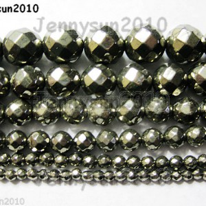 Natural-Iron-Pyrite-Gemstone-Faceted-Round-Beads-16-3mm-4mm-6mm-8mm-10mm-12mm-370736393397