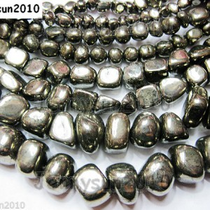 Natural-Iron-Pyrite-Gemstone-Freeformed-Nugget-Loose-Beads-16-Inches-Strand-261155559857