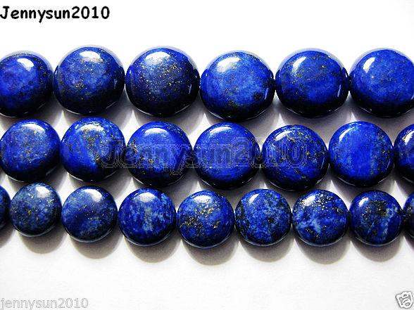 Natural-Lapis-Lazuli-Gemstone-Flat-Round-Coin-Beads-16-Strand-10mm-12mm-14mm-261131639458