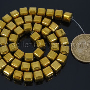 Natural-Non-Magnetic-Hematite-Gemstone-8mm-Faceted-Cube-Square-Loose-Beads-16quot-262749794720-a02f