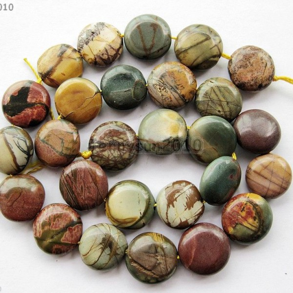 Natural-Picasso-Jasper-Gemstone-14mm-Freeformed-Round-Coin-Loose-Beads-15-370865987436