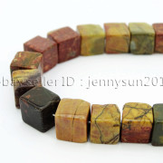 Natural-Picasso-Jasper-Gemstone-Square-Cube-Loose-Spacer-Beads-155-8mm-10mm-262548411500-2