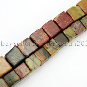 Natural-Picasso-Jasper-Gemstone-Square-Cube-Loose-Spacer-Beads-155-8mm-10mm-262548411500-3