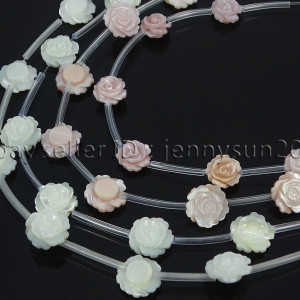 Natural-Pink-White-Mother-Of-Pearl-MOP-Shell-Rose-Flower-Carved-Spacer-Beads-282243061751