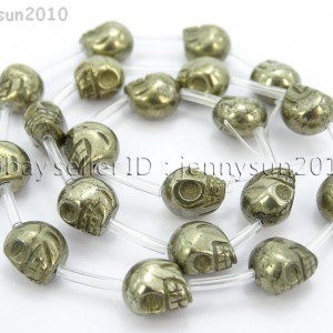 Natural-Pyrite-Gemstone-Hand-Carved-Skull-Loose-Beads-16-6mm-8mm-10mm-12mm-370916483353