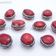 Natural-Red-Coral-Gemstones-Czech-Crystal-Rhinestones-Round-Nugget-Charm-Beads-371498741483-2