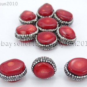 Natural-Red-Coral-Gemstones-Czech-Crystal-Rhinestones-Round-Nugget-Charm-Beads-371498741483