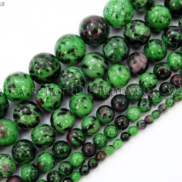 Natural-Ruby-In-Zoisite-Gemstone-Round-Beads-155-4mm-6mm-8mm-10mm-12mm-14mm-371423144208