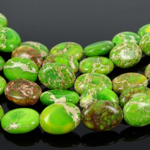Natural-Sea-Sediment-Jasper-Gemstone-Oval-Beads-Limegreen-16-12x-16mm-13x-18mm-370976813278