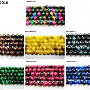 Natural-Tigers-Eye-Gemstone-Round-Beads-15-Red-Gold-Blue-Green-Pink-Assorted-261060297695