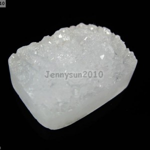Natural-White-Druzy-Quartz-Agate-Flat-Back-Rectangular-Cabochon-Bead-20mm-x27mm-261298656011