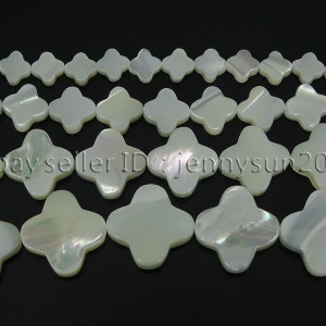 Natural-White-Mother-Of-Pearl-MOP-Shell-Clover-Spacer-Loose-Beads-Strand-16-262712114644