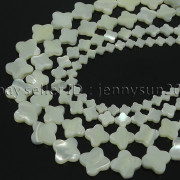 Natural-White-Mother-Of-Pearl-MOP-Shell-Clover-Spacer-Loose-Beads-Strand-16-262712114644-4