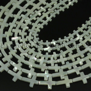 Natural-White-Mother-Of-Pearl-MOP-Shell-Cross-Spacer-Loose-Beads-Strand-16-282217316913