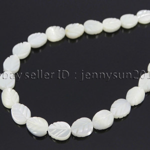 Natural-White-Mother-Of-Pearl-MOP-Shell-Leaf-6-x-8mm-Loose-Spacer-Beads-16-371730450470