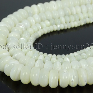 Natural-White-Mother-Of-Pearl-MOP-Shell-Rondell-Beads-155-4mm-6mm-8mm-10mm-371742323033