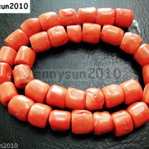 Orange-Natural-Coral-Gemstone-12mm-13mm-Chunky-Tube-Beads-16-Inches-Strand-261225697574