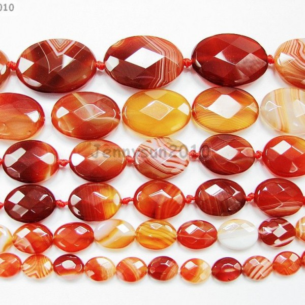Red-Carnelian-Natural-Agate-Gemstone-Faceted-Oval-Loose-Beads-15-Inches-Strand-261278842495