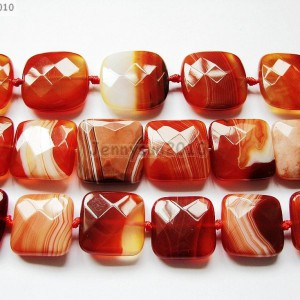 Red-Carnelian-Natural-Agate-Gemstone-Faceted-Square-Loose-Beads-15-Strand-261279559284