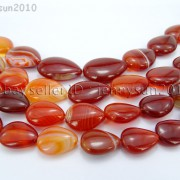 Red-Carnelian-Natural-Agate-Gemstone-Flat-Teardrop-Loose-Beads-15-Strand-261280412094