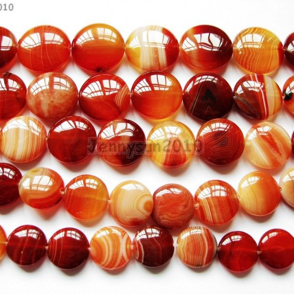 Red-Carnelian-Natural-Agate-Gemstone-Round-Coin-Loose-Beads-15-Inches-Strand-281162983034