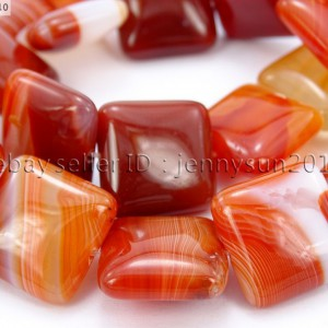 Red-Carnelian-Natural-Agate-Gemstone-Square-Loose-Beads-15-Inches-Strand-370891629470
