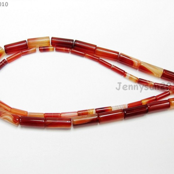 Red-Carnelian-Natural-Agate-Gemstone-Tube-Beads-155-4mm-x-13mm-8mm-x-20mm-370882357866