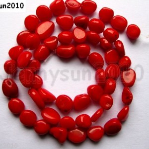 Red-Natural-Coral-Gemstone-8mm-x-10mm-Nugget-Loose-Spacer-Beads-16-Inches-370780037203