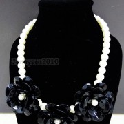 Resin-Rhinestone-Rose-Flowers-Glass-Pearl-Beads-Bib-Statemn-Gold-Plated-Necklace-281385714807-10f1