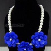 Resin-Rhinestone-Rose-Flowers-Glass-Pearl-Beads-Bib-Statemn-Gold-Plated-Necklace-281385714807-1336