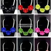 Resin-Rhinestone-Rose-Flowers-Glass-Pearl-Beads-Bib-Statemn-Gold-Plated-Necklace-281385714807