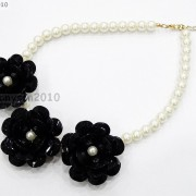 Resin-Rhinestone-Rose-Flowers-Glass-Pearl-Beads-Bib-Statemn-Gold-Plated-Necklace-281385714807-2