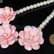 Resin-Rhinestone-Rose-Flowers-Glass-Pearl-Beads-Bib-Statemn-Gold-Plated-Necklace-281385714807-3