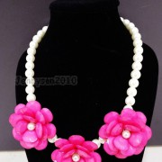 Resin-Rhinestone-Rose-Flowers-Glass-Pearl-Beads-Bib-Statemn-Gold-Plated-Necklace-281385714807-3916