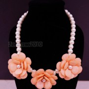 Resin-Rhinestone-Rose-Flowers-Glass-Pearl-Beads-Bib-Statemn-Gold-Plated-Necklace-281385714807-490c