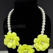 Resin-Rhinestone-Rose-Flowers-Glass-Pearl-Beads-Bib-Statemn-Gold-Plated-Necklace-281385714807-5f1e